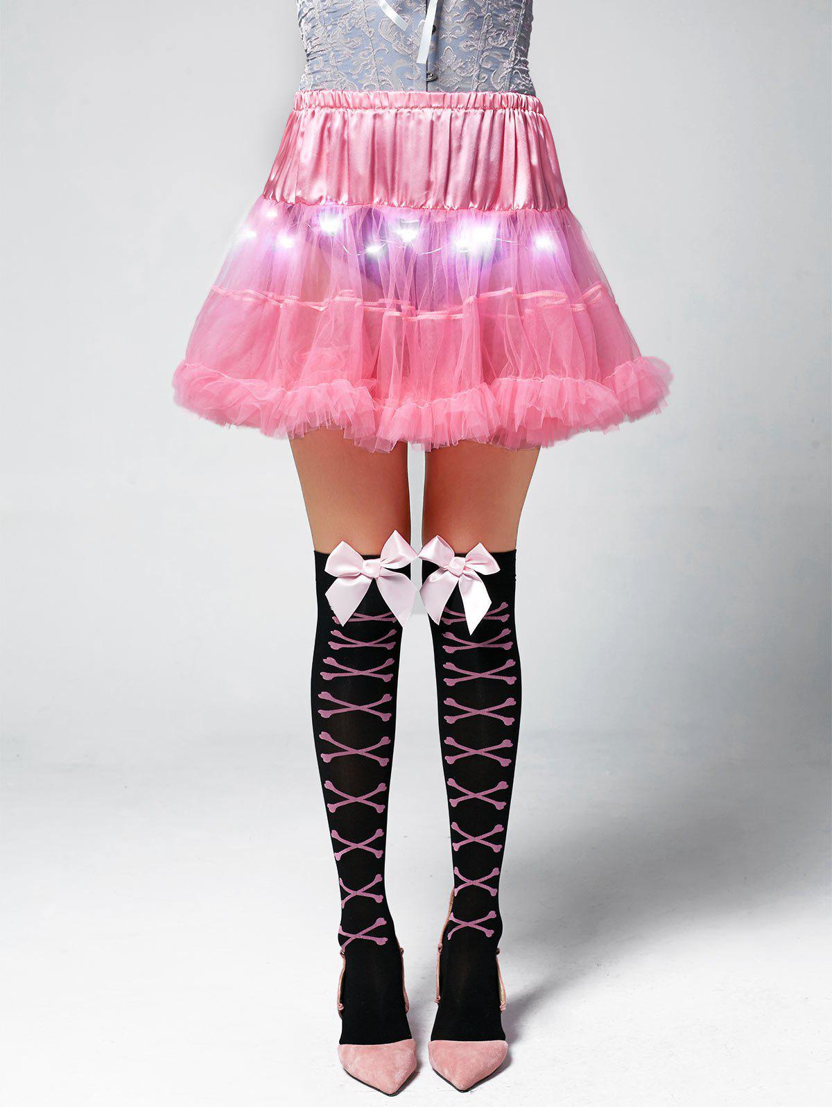 Ruffles Light Up Tutu Voile Cosplay Jupe - Rose Léger ONE SIZE