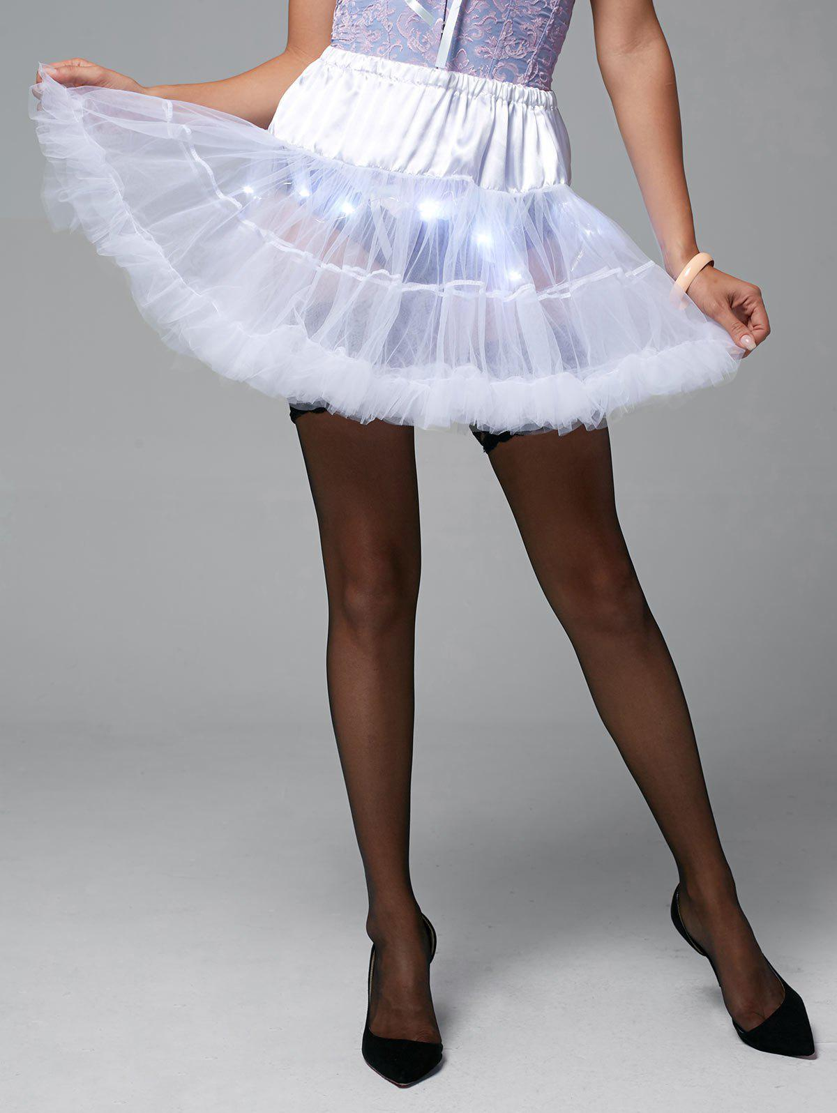 Ruffles Light Up Tutu Voile Cosplay Jupe - Blanc ONE SIZE