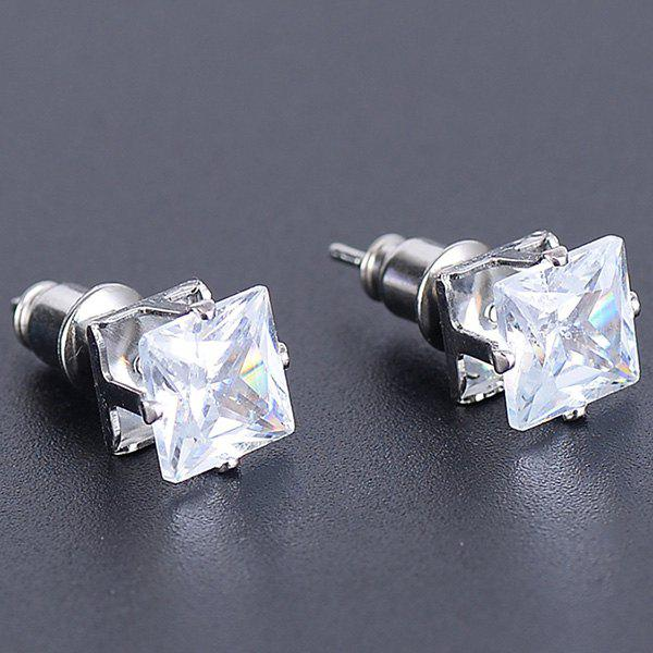 Faux Gem Square Stud Earrings - SILVER