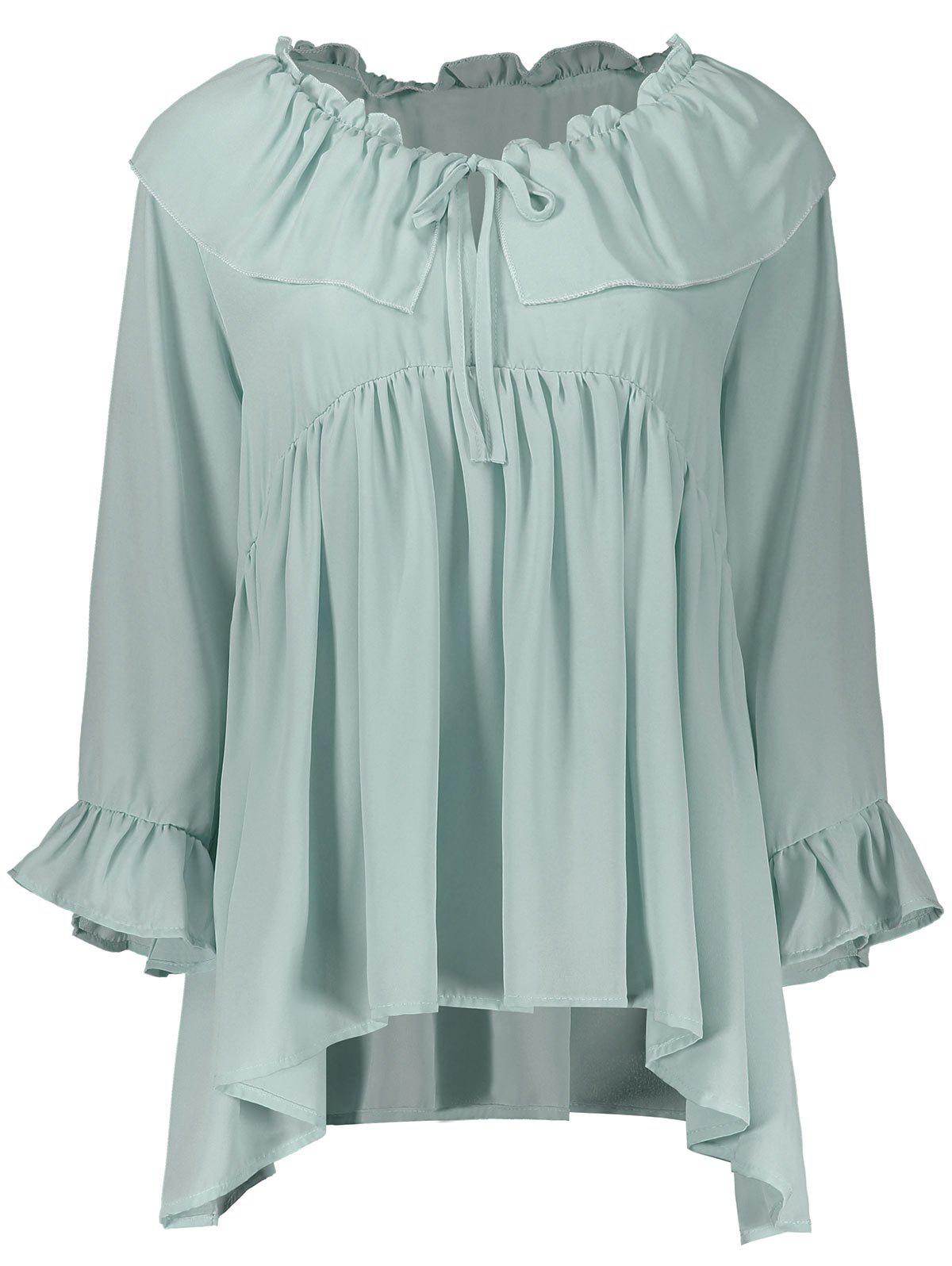 Ruffle Chiffon Plus Size Top - LIGHT GREEN 4XL