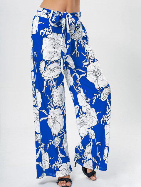 Printed Belted Wide Leg Pants - BLUE 2XL