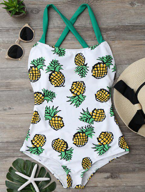Pineapple Print Cross Back Swimsuit - COLORMIX M