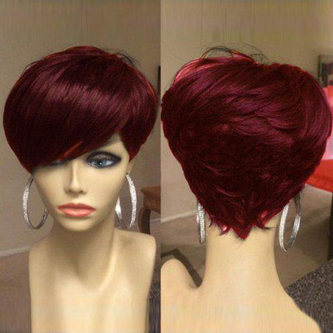 Short Inclined Bang Shaggy Layered Straight Synthetic Wig - WINE RED
