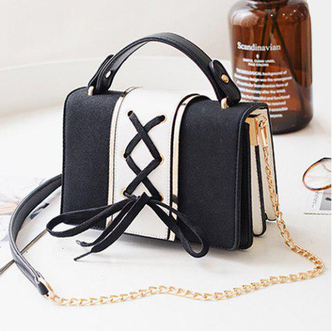 Suede Panel Lace Up Crossbody Bag - BLACK