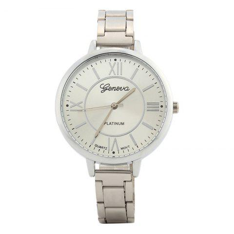 Roman Numeral Alloy Strap Watch - SILVER