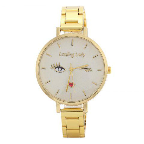 Pretty Lady Face Alloy Watch - GOLDEN