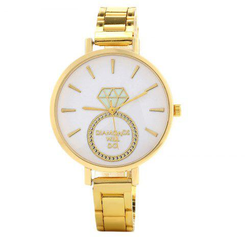 Alloy Strap Dianmond Ring Watch - GOLDEN
