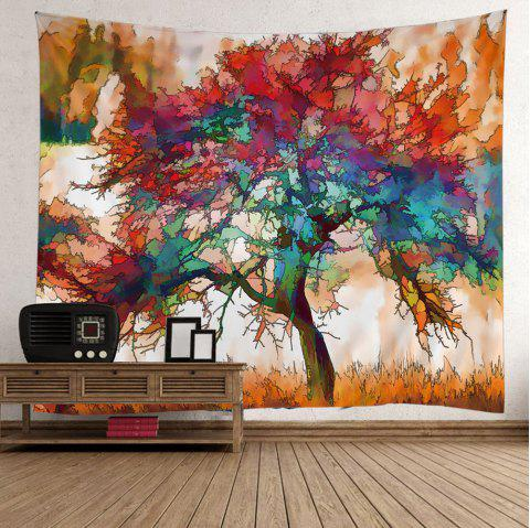 Oil Painting Maple Tree Wall Tapestry - COLORFUL W59 INCH * L51 INCH