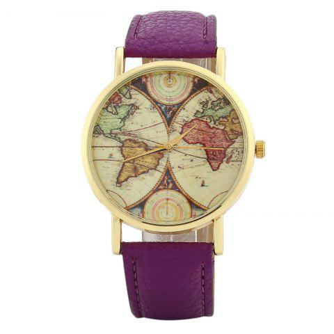 World Map Face Faux Leather Strap Watch - PURPLE