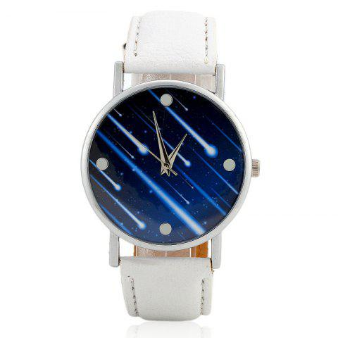 Meteor Shower Face Faux Leather Watch - WHITE