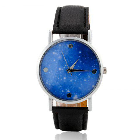 Faux Leather Starry Sky Face Watch - BLACK