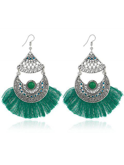 Rhinestone Gypsy Moon Tassel Hook Earrings - Vert