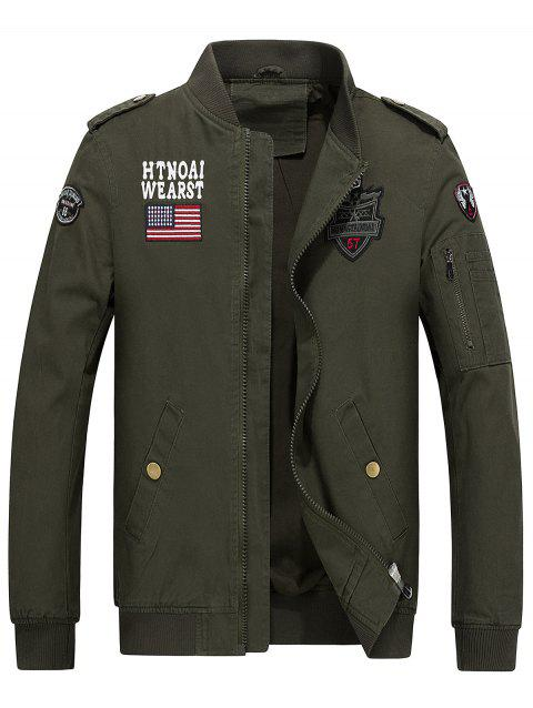 Stand Collar Flag and Shark Embroider Jacket - ARMY GREEN M