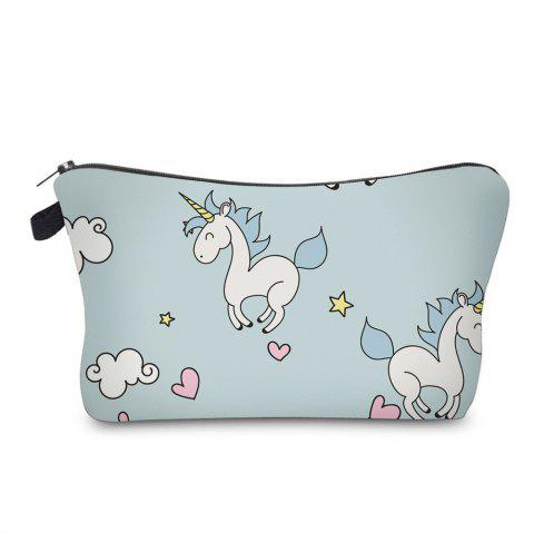 Cartoon Unicorn Printed Makeup Bag - CLOUDY
