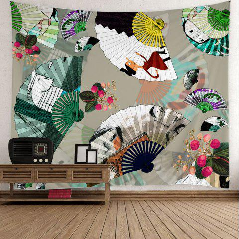 Folding Fan Cartoon Print Wall Tapestry - COLORFUL W59 INCH * L59 INCH