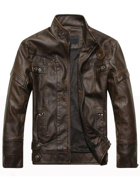Stand Collar Panel Design Fleece PU Leather Jacket - COFFEE 3XL