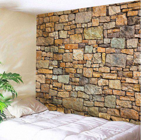 Natural Stone Brick Print Wall Hanging Tapestry - BROWN W59 INCH * L59 INCH
