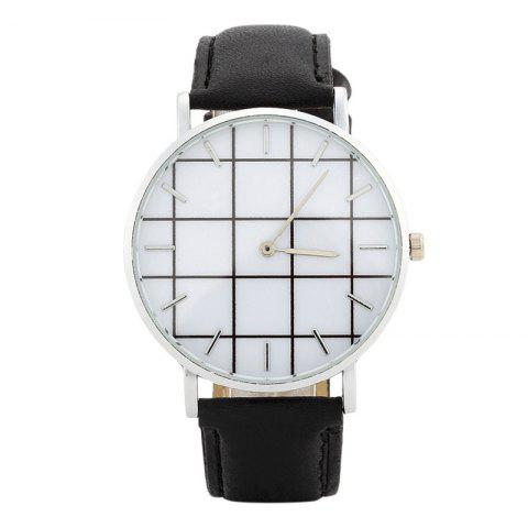 Plaid Face Faux Leather Watch - BLACK