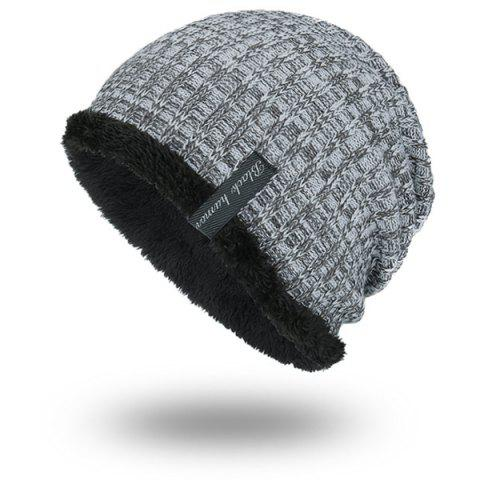 Warm Velvet Lining Knitting Beanie - LIGHT GRAY