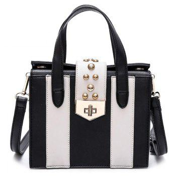 Turnlock Contrast Color Handbag - WHITE AND BLACK WHITE/BLACK