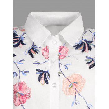 Embroidery Short Sleeve Button Up Shirt - WHITE S