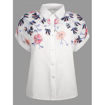 Embroidery Short Sleeve Button Up Shirt - WHITE WHITE