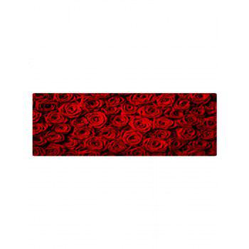 Rose Flower Pattern Indoor Outdoor Area Rug - DEEP RED W24 INCH * L71 INCH