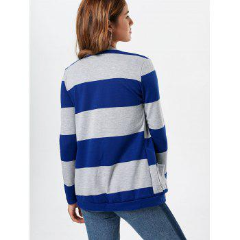 Charming Broad Striped Long Sleeve Cardigan For Women - BLUE XL