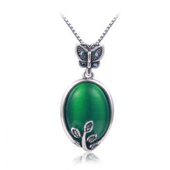 Faux Emerald Oval Butterfly Necklace