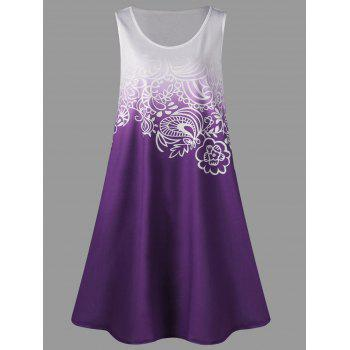 Plus Size Ombre Tank Dress - PURPLE PURPLE
