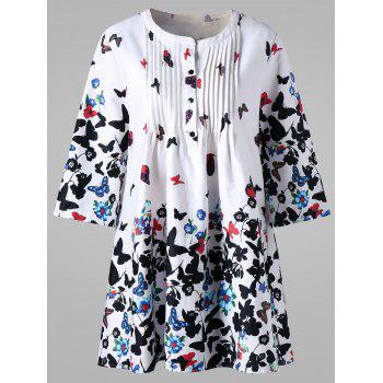 Plus Size Butterfly Print Pintuck Smock Blouse
