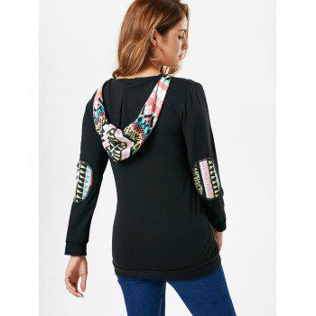 Ethnic Style Printed Hooded Long Sleeve T-Shirt For Women - BLACK XL