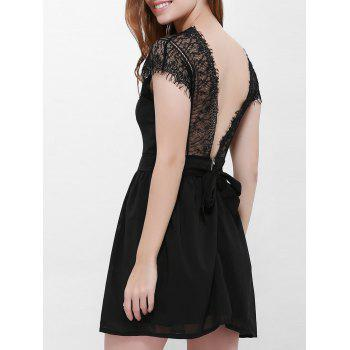 Lace Panel Backless Mini Bridal Shower Dress - BLACK BLACK