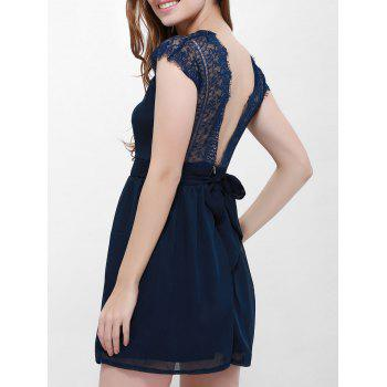 Lace Panel Back Cutout Mini Skater Club Dress - BLUE L