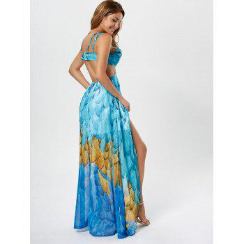 Printed Chiffon Cutout High Low Robe - Bleu clair S