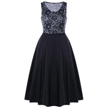 Floral Lace Panel A Line Sleeveless Dress