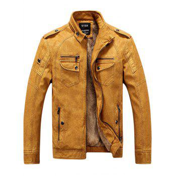 Epaulet Zip Up Pockets PU Leather Fleece Jacket