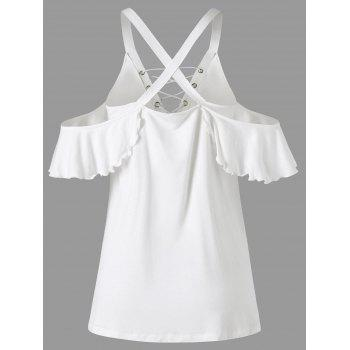 Cold Shoulder Frill Lace Up T-shirt - WHITE 2XL