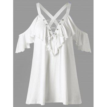 Cold Shoulder Frill Lace Up T-shirt