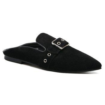 Buckle Strap Eyelets Slippers - BLACK 37