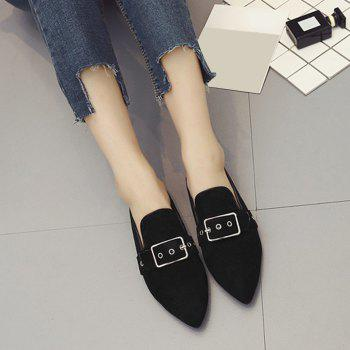 Buckle Strap Eyelets Slippers - 37 37