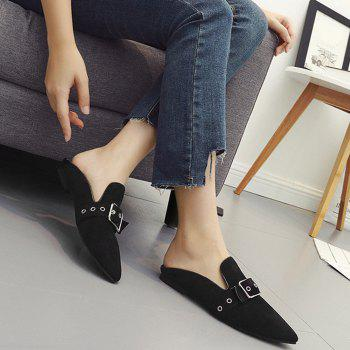 Buckle Strap Eyelets Slippers - BLACK 39