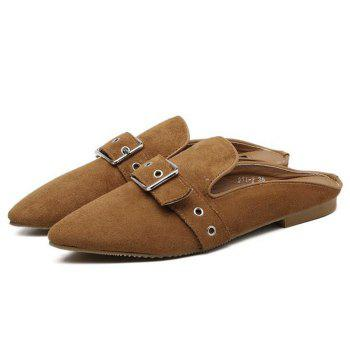 Buckle Strap Eyelets Slippers - 39 39