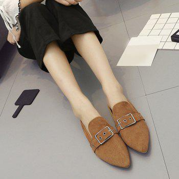 Buckle Strap Eyelets Slippers - BROWN 37