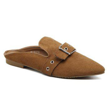 Buckle Strap Eyelets Slippers - BROWN 38