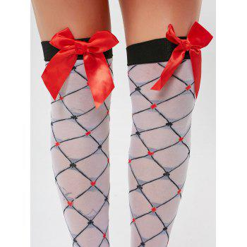 Plaid Overknee Sheer Bowknot Tights - ONE SIZE ONE SIZE