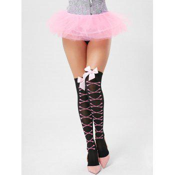 Overknee Elastic Bowknot Tights - BLACK ONE SIZE