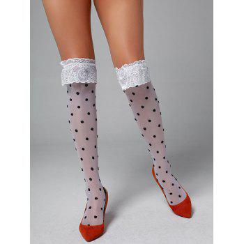 Polka Dot Lace Insert Overknee Tights