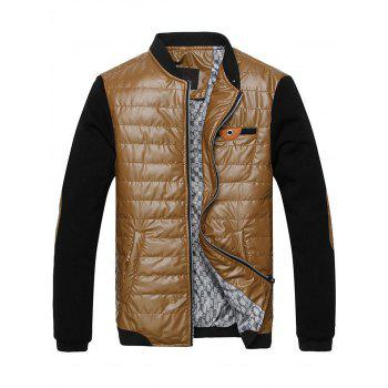 Stand Collar Elbow Patch Knitting Panel Wadded Jacket