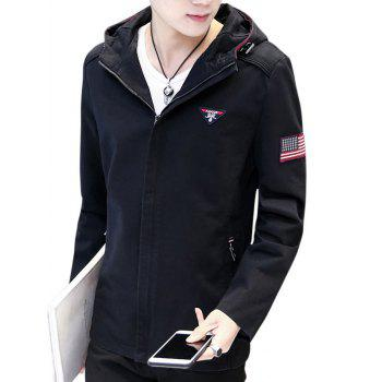 American Flag Embroider Zip Up Jacket